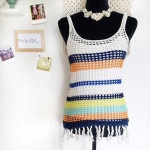 Boston Proper colorful crochet tank top XXS
